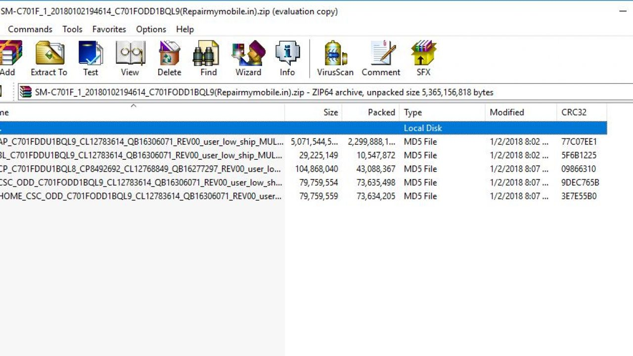 Samsung SM-C701F Flash File (4 File Stock ROM